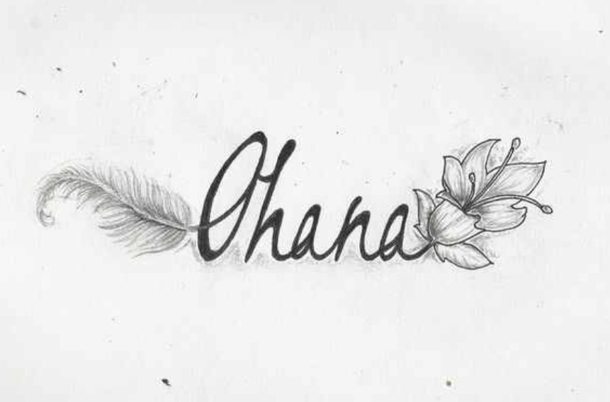 The word Ohana with a flower and feather coming out of it   Tattoo.com