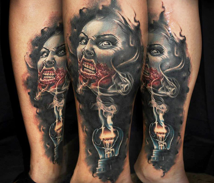 13 most realistic horror tattoos. Black Bedroom Furniture Sets. Home Design Ideas