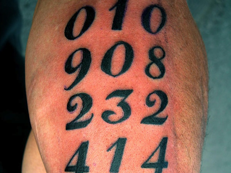 15 mathematical number tattoos. Black Bedroom Furniture Sets. Home Design Ideas
