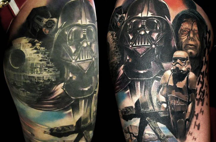 10 of the best star wars tattoos you will see for Best script tattoo artist austin