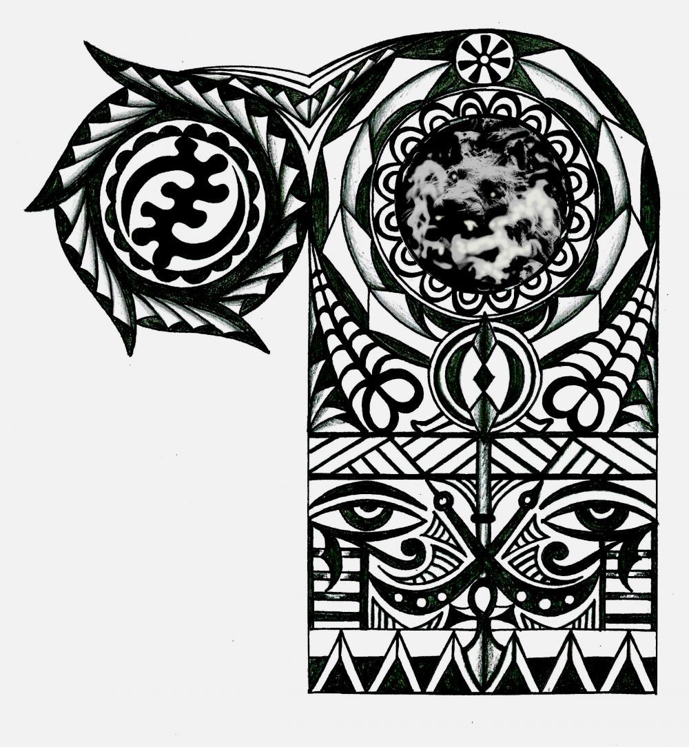 African Tattoos Designs: Adinkra African Warrior Tribal Half Sleeve Tattoo